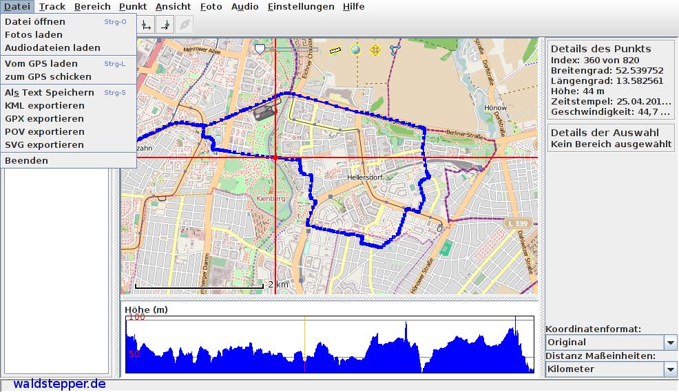 Prune mit geladener OpenStreetMap Karte