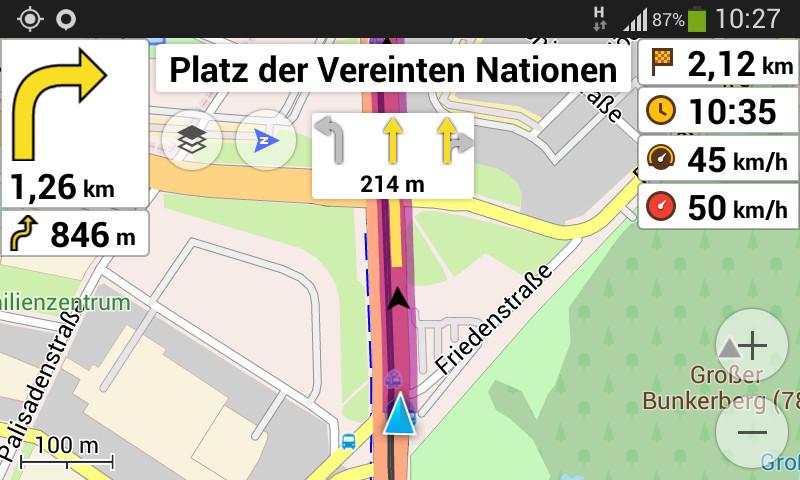 OsmAnd im Navigationsmodus
