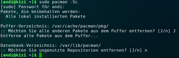 Pacman-Cache löschen